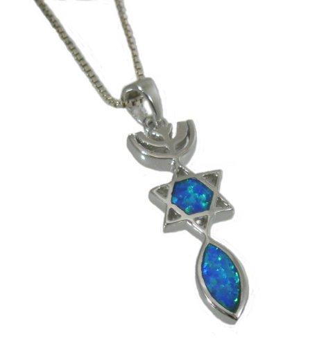 Il sigillo di Gerusalemme, pendente in argento Sterling 925 e Opal. con catena d'argento.