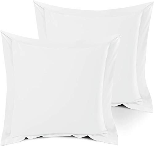 SHEETSPA Hotel Quality 1500 Thread Count 100% Egyptian Cotton 2 Piece Oxford Pillow Cases Premium White Continental Square Size 65cm x 65cm + 5cm Frame, Soft 2 Pc White Pillow Cases in Gift Box
