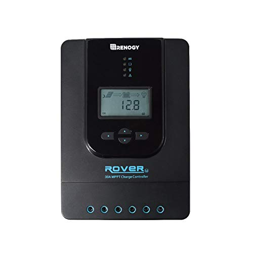 Renogy Rover 30 Amp 12V/24V DC Input MPPT Solar Charge Controller Auto Parameter Adjustable LCD Display Solar Panel Regulator fit for Gel Sealed Flooded and Lithium Battery