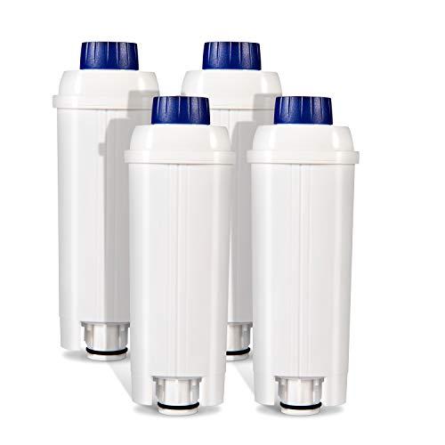 Cafetera Automática Filtro para DeLonghi DLSC002,Reemplazo de Filtros de Cafetera Cartuchos de Filtro de Agua Suavizador de Carbón Activado para Filtro Serie ECAM, Esam, Etam, BCO Paquete de 4