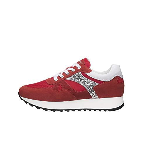 Nero Giardini E010520D Sneakers Donna in Pelle, Camoscio E Tela - Rosso 38 EU