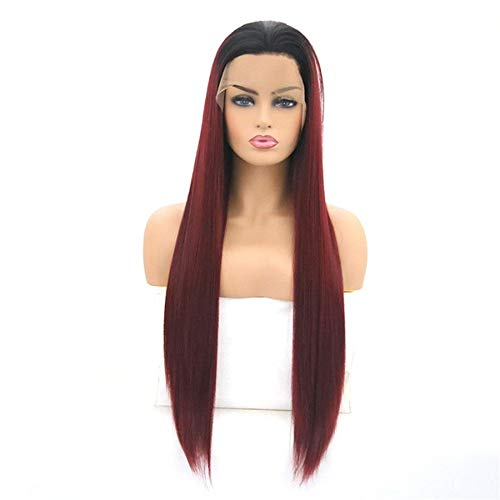 Vrouw Lange Rechte Wine Red Hair met Black Roots for Lace Wigs, 26 Inches Hoge temperatuur vezel Pruik for Vrouwen Cosplay of Daily