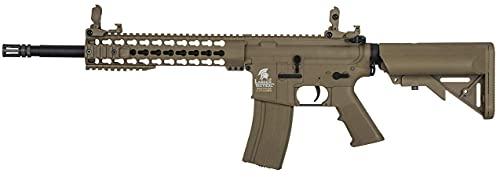 Fusil eléctrico Airsoft LT-19 G2 M4 keymod 10' Combo 1 J Tan Lancer Tactical AR-15 Rifle táctico 6 mm 330 fps (Incluye batería y Cargador)