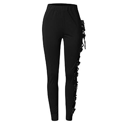 NOBRAND Pantalones con Cordones Laterales góticos Leggings de Moda para Mujer Pantalones Pitillo Negros Pantalones Largos para Mujer Pantalones de chándal Joggers