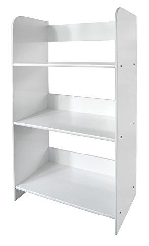 Leomark Estantería de Madera para Niños, Blanca, Tres Estantes, Altura 90cm, Librero para Dormitorio