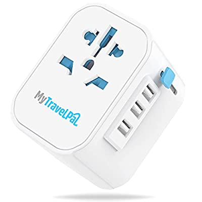 MyTravelPal™ Worldwide Universal 10A Travel Adapter - The Most Powerful & Safest All In One Earthed International Wall Charger - 3 USB Ports - USA EU UK AUS - Suitable For High Powered Devices