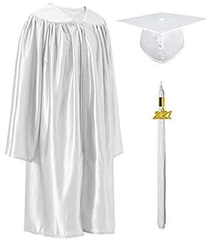 GraduatePro Shiny Kindergarten Preschool Graduation Cap and Gown 2021 Set for Prek Toddler Kids White 27
