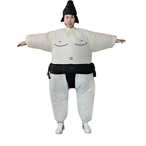 Vestito da Sumo gonfiabile BIYI Fan Novità Fat Man and Woman Suite Fat Masked Suit Fancy Blow Up Dress Wrestler Costume (bianco e nero)