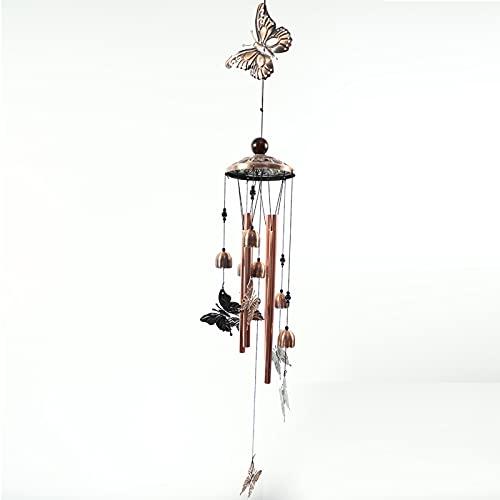 Carillones de viento de la mariposa, adornos de chimenes de viento, decoración del jardín de casa, campanas de cobre al aire libre, 4 tubos de aluminio huecos y 6 campanas, adecuadas para uso en interiores y exteriores
