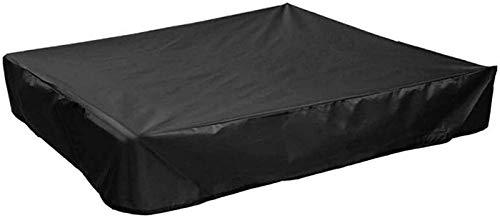 Pillowcase 130x130x20cm Caja de Arena para jardín Cubierta de Pozo de Arena, Cubiertas rectangulares para Muebles de Patio Impermeable, Cubierta de Piscina al Aire Libre Anti-UV, Negro