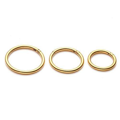 Zytsa - 3 pares de piercings de nariz de acero inoxidable 16 GA 8-12 mm de diámetro, pendientes de aro para el labio, tragus y cuerpo dorado
