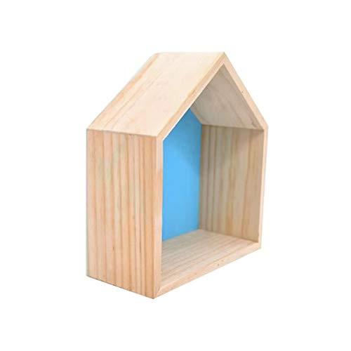 Cestbon Haus-Form Wandregal Lager Regale Schweberegale Wandregal Wanddekoration Hängende Regal Kinderraum Dekoration DIY Zum Hängen/2 Stück,Blau