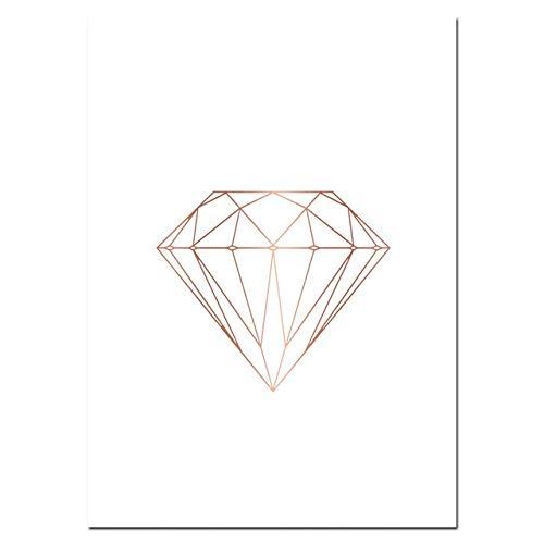 Cartel de mármol rosa Impresiones Gris Rosa Oro Lienzo Arte Pintura Diamante Pared Moderna Sala de estar Imágenes 60x80cm