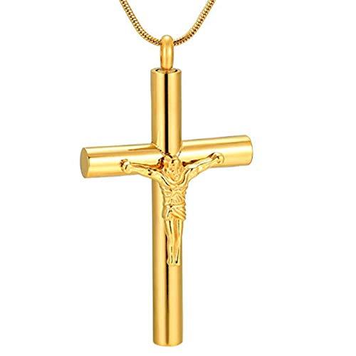 Urna Cremación Colgante Crucifixión De Acero Inoxidable Jesús Crucifijo Cruz Cremación Recuerdo Urna Colgante Collar 2 Piezas Collares Oro 55Mm * 35Mm