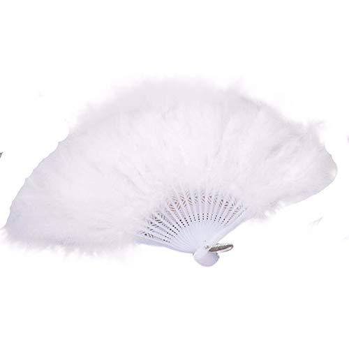 YWLINK Abanicos,28 Abanicos De Plumas Boda Showgirl Danza Elegante Pluma Grande Plegable...