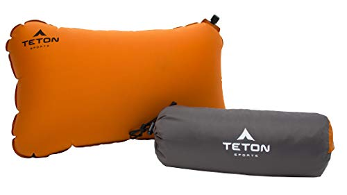 TETON Sports ComfortLite Self-Inflating Pillow; Support Your Neck and Travel Comfortably; Take it on the Airplane, in the Car, Backpacking, and Camping; Washable; Stuff Sack Included, Orange, 18 x 10 x 4-Inch