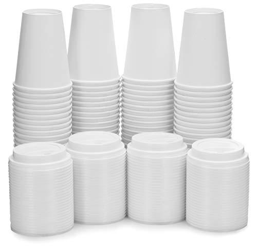 [100 Pack - 12 oz.] White Paper Coffee Cups & Lids - Disposable Hot Cups with Plastic Lids for Hot Drinks