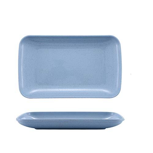 Platos De Postre 2 unids casera casera placa placa pasta cena cena pura color fruta sabor plato de sabor Plato Llano (Color : Blue)