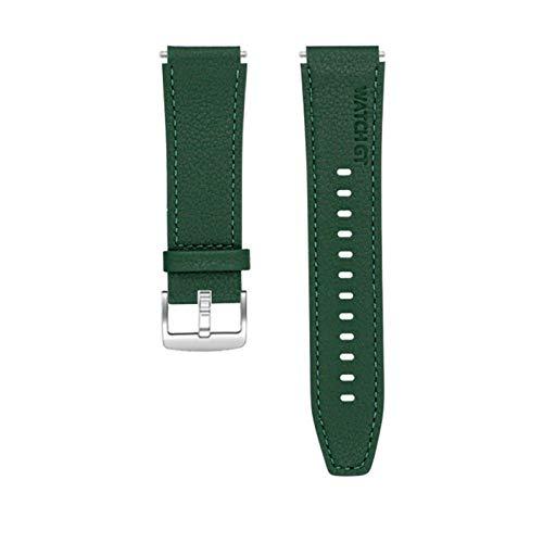 LWHAMA Lwwhama Correa de Cuero de Estilo Oficial para Huawei Watch GT 2 Pro Banda Mujeres Pulsera Correa Smart Watch Accesorios Reloj de Reloj (Band Color : Army Green, Band Width : 22mm Universal)
