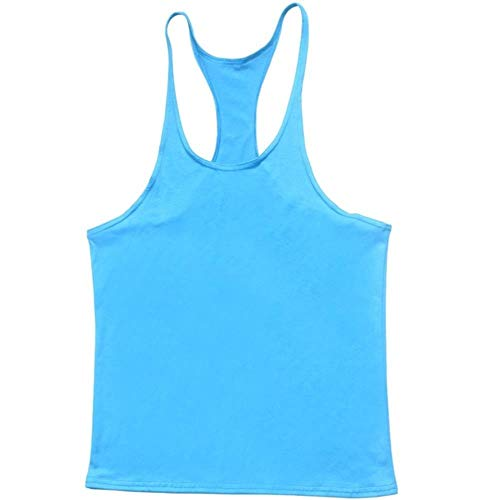 DAIN Herren Tank Top Weste Sommersport Ärmelloses Bodybuilding Man Gym Workout, Hellblau, M.