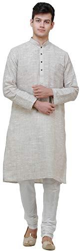 Exotic India Pure Handspun Khadi Kurta Pajama - Color Lily White Size...