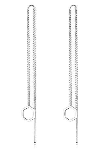 Elli Ohrringe Damen Ketten Look mit Hexagon Anhänger Basic aus 925 Sterling Silber