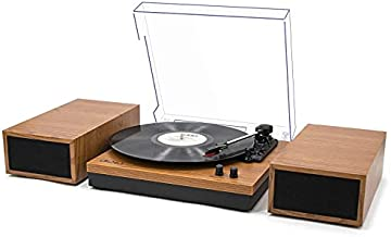 LP&No.1 Retro Bluetooth Record Player with Stereo External Speakers, 3-Speed Belt-Drive Turntable for Vinyl Records with Wireless Playback and Auto-Stop, Yellow Wood