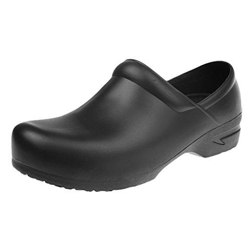MagiDeal Zapatos de Enfermería Médico de Cocinero para Trabajar Poliuretano y Caucho Seguridad Antideslizantes Impermeabilizan Blanco/Negro