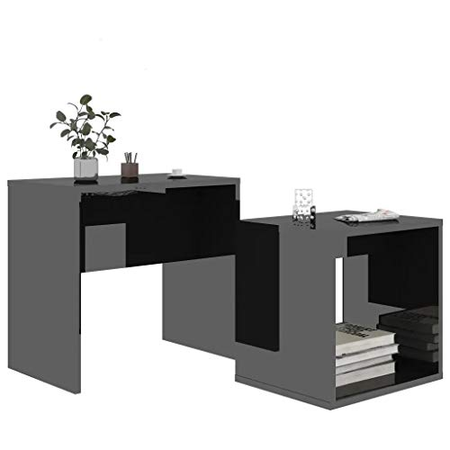 Ramton Set of 2 Side Tables End Black High Gloss Modern Coffee Table Nesting Tables Bediside Nightstand Space Saving Units
