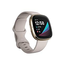 best reliable fitness watch with temperature trends for skin and core - Fitbit Sense Advanced Smartwatch with Tools for Heart Health, Stress Management & Skin Temperature Trends, White/Gold, One Size (S & L Bands Included)