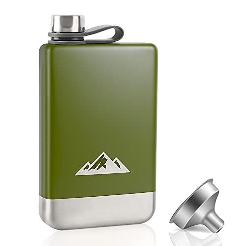 KWANITHINK Matraces para licor para hombres, acero inoxidable para camping, 8 oz con embudo, petaca para whisky con tapa de acero integrada para exteriores, camping, senderismo, escalada
