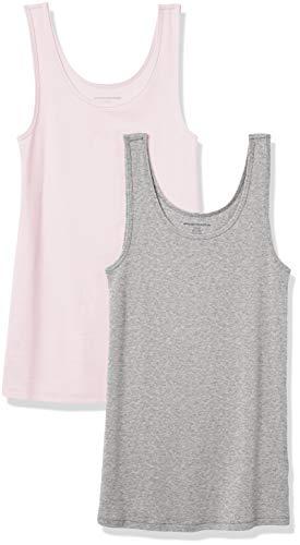 Amazon Essentials Women's 2-Pack Slim-Fit Tank, Bright Pink/Heather Grey, Large