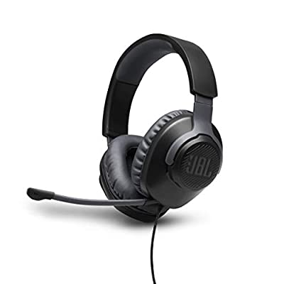 JBL Quantum 100 Wired Over-Ear Gaming Headset with Boom Mic, PC and Console Compatible, in Black from Harman