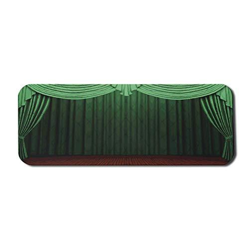 Grünes Computer-Mauspad, Kunst-Themen-Muster mit Bühnenvorhang des Theater-Illustrations-Drucks, rechteckiges rutschfestes Gummi-Mauspad großes lindgrünes Jägergrün