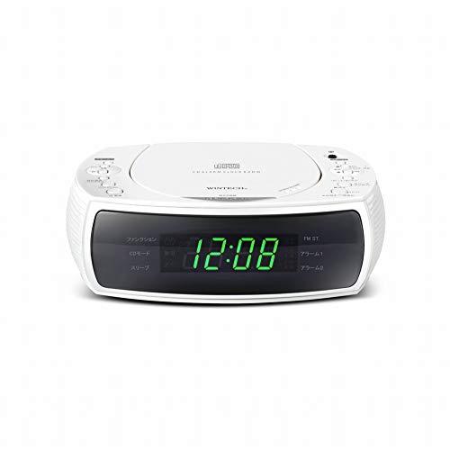 WINTECH CDクロックラジオ(FMワイドバンド対応) ホワイト デュアルアラーム機能搭載 CDC-220