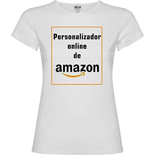 Camiseta Personalizable · Mujer · Manga Corta · 100% Algodón · Impresión Directa (DTG) Impresión · ¡No es un Vinilo Impreso! Se Imprime Directamente sobre el Tejido! (Blanco, L)