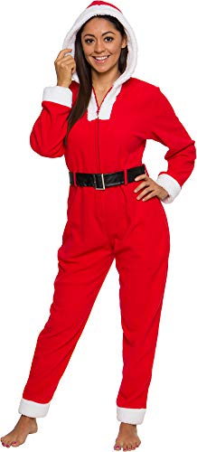 Silver Lilly Mrs. Claus Christmas Costume Pajamas - Slim Fit One Piece Plush Novelty Holiday Jumpsuit (Red, Large)