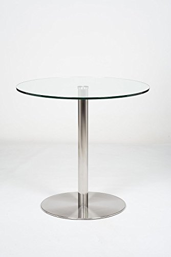 Round Glass Top Pedestal Table | Small Clear Glass Kitchen Dining Table | 80cm Modern Circular 2 - 4 Seater Breakfast Bistro Table | Target by Modern Furniture Direct
