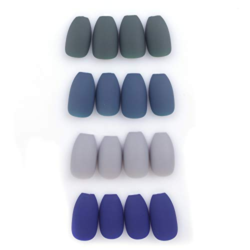 Laza 96 Pcs Colorful Fake Nails 4 Pack Olive Sapphire Misty Grey Full Cover Coffin Medium Ballet Matte Artificial Acrylic Nails - Peacock Blue