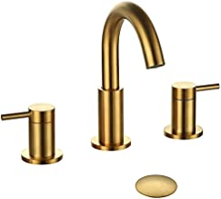 Hideno Brushed Gold Bathroom Faucet ,Two Handle 8 inch Widespread Bathroom Sink Faucet Gold with Pop-up Drain & Supply Lines (Brushed Gold)