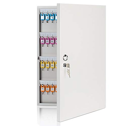 Armoires à clés Boîte à clés en métal 96 Bits Armoire de Rangement pour clés Boîte de Rangement Murale Boîte à clés Boîte de clés (Color : Silver, Size : 37.7 * 5 * 59cm)