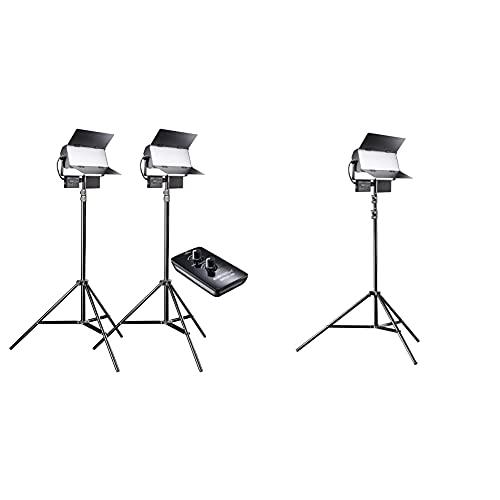 Walimex pro LED Sirius 160 Daylight 2er Set mit Stativ + Fernbedienung - 2X 65W Daylight Flächenleuchte, 2x65 Watt 6000 Lumen & LED Sirius 160 Daylight Set mit Stativ - 1x 65W Daylight Flächenleuchte