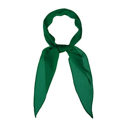 Allegra K Solid Color Rhombus Neck Scarf Scarves Skinny Long Neckerchief for Women Green