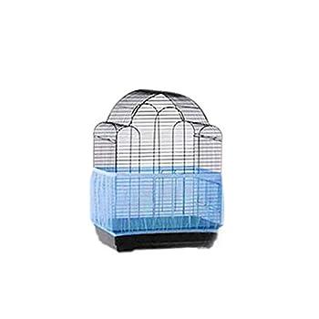 UEETEK Cage à oiseau Housse de rangement en maille pour cage à oiseaux, protection anti-graines Bleu Taille L