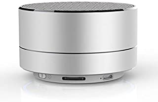KIVFVS Wireless Bluetooth Speaker With Microphone Metal Mini Portable Subwoofer Sound Support TF Card (Color : White)