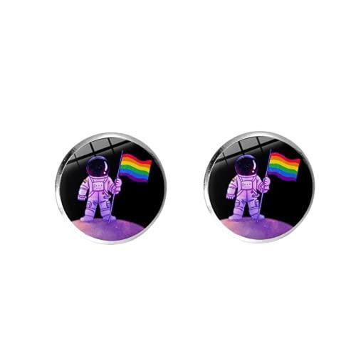 Pendientes de tuerca para hombre y mujer, diseño de orgullo gay, con bandera de arco iris, antidiscriminación LGBT