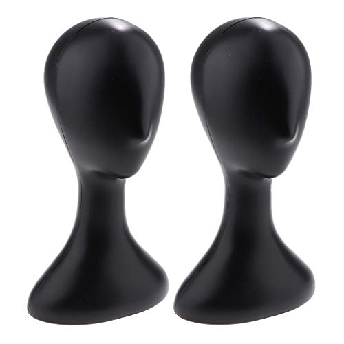 MagiDeal Paquet De 2pcs Tête De Mannequin Femme Abstraite avec Base en Plastique pour Rester Stable, Style à Long Cou (Couleur Noire)