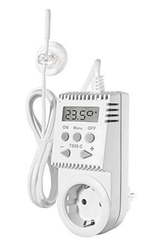 Stekkerthermostaat KH TS06-C universele thermostaat infraroodverwarming incl. externe sensor met 1,6 m kabel