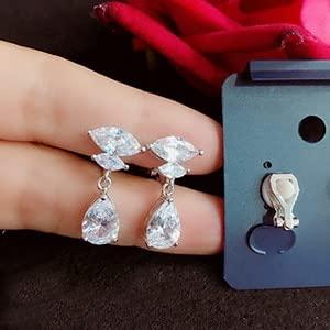 Fashion Luxury White CZ Crystal Water Drop Long Earrings Jewelry Bride Wedding Earrings Non Pierced Ear Clip Ear Cuff
