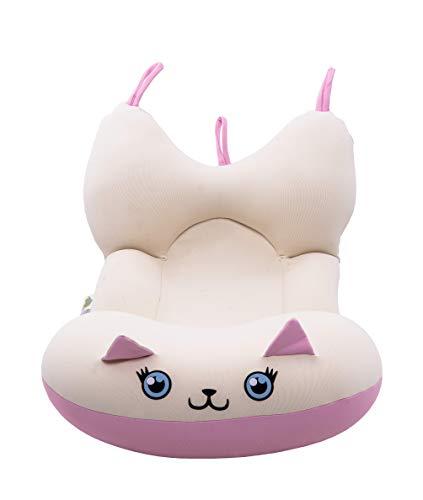 Almofada de Banho Gatinha Ágata - Tamanho P, Baby Pil, Branco e Rosa